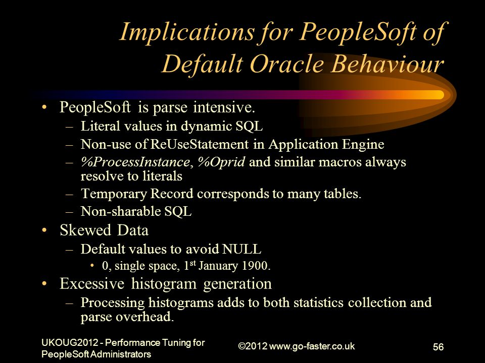 Implications for PeopleSoft of Default Oracle Behaviour PeopleSoft is parse intensive. –Literal values in dynamic SQL –Non-use of ReUseStatement in Ap