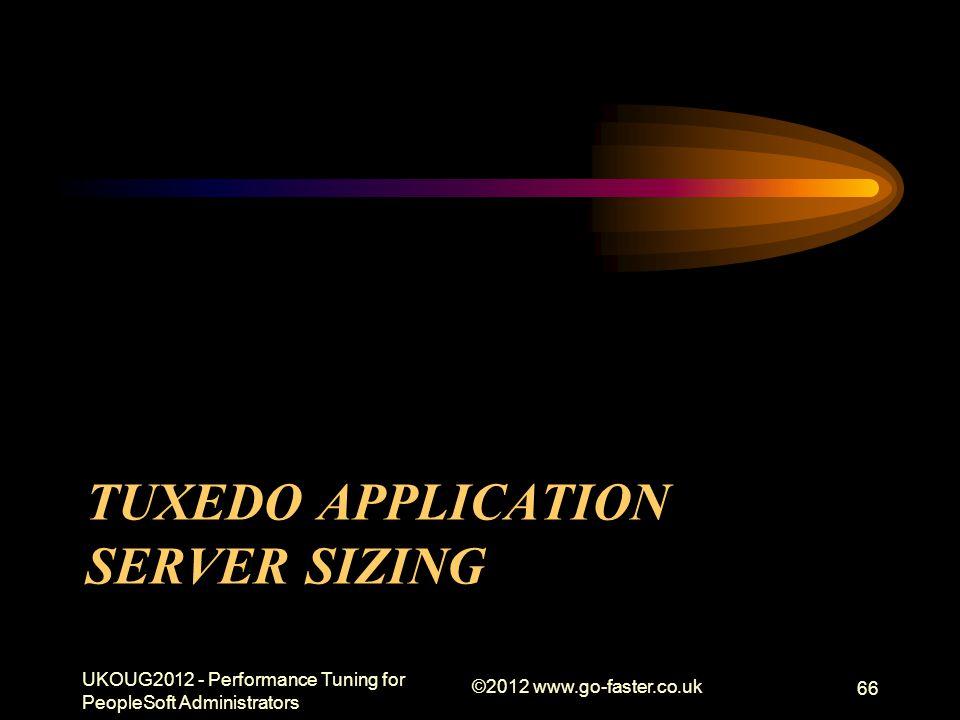 TUXEDO APPLICATION SERVER SIZING UKOUG2012 - Performance Tuning for PeopleSoft Administrators ©2012 www.go-faster.co.uk 66