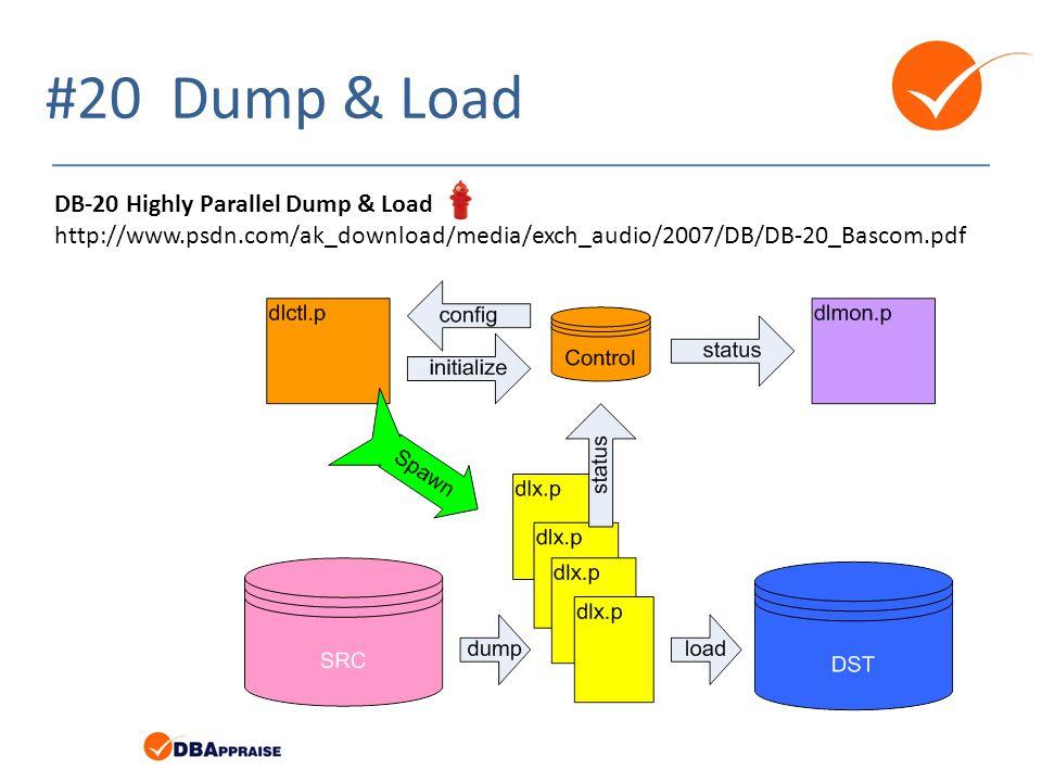 #20 Dump & Load DB-20 Highly Parallel Dump & Load http://www.psdn.com/ak_download/media/exch_audio/2007/DB/DB-20_Bascom.pdf
