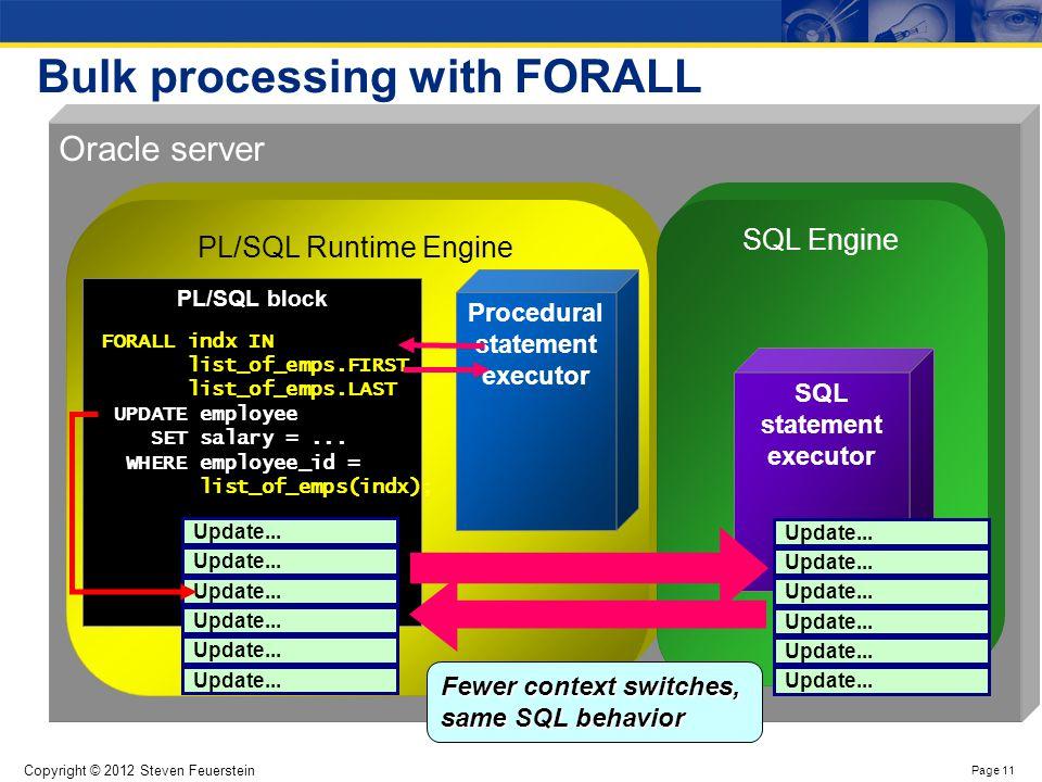 Copyright © 2012 Steven Feuerstein Page 11 Bulk processing with FORALL Oracle server PL/SQL Runtime Engine SQL Engine PL/SQL block Procedural statemen