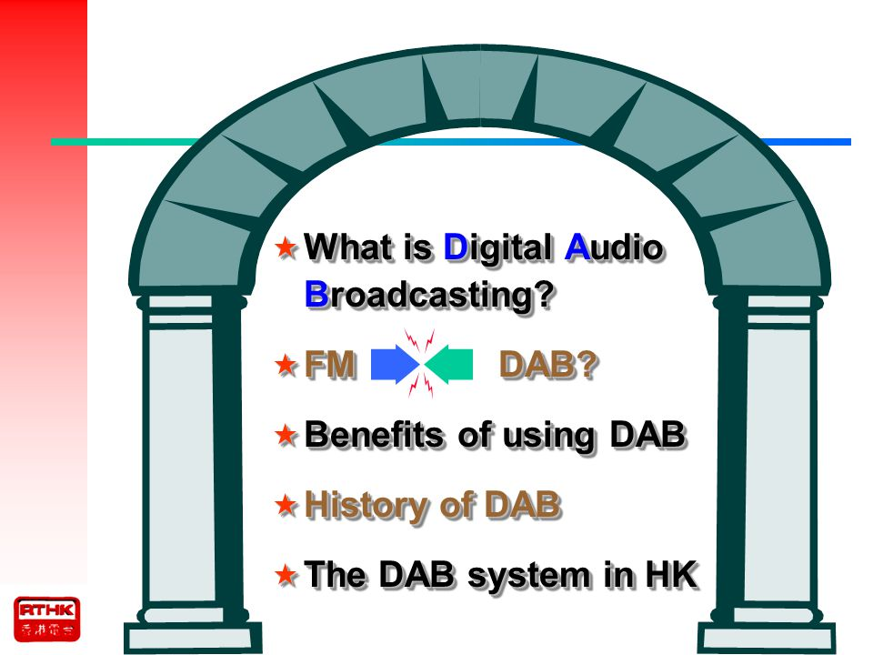 The DAB system in HK The project was implemented.Only music was broadcasted for testing.