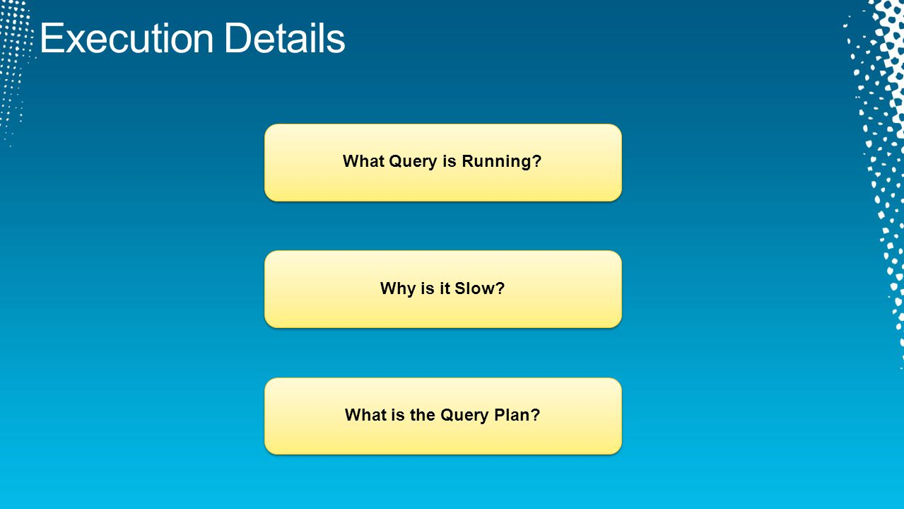 What Query is Running?Why is it Slow?What is the Query Plan?