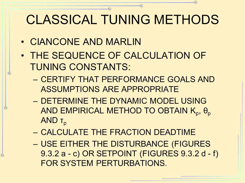CIANCONE AND MARLIN THE SEQUENCE OF CALCULATION OF TUNING CONSTANTS: –CERTIFY THAT PERFORMANCE GOALS AND ASSUMPTIONS ARE APPROPRIATE –DETERMINE THE DY