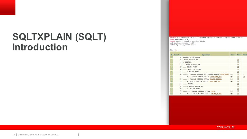 Copyright © 2013, Oracle and/or its affiliates. 5 SQLTXPLAIN (SQLT) Introduction