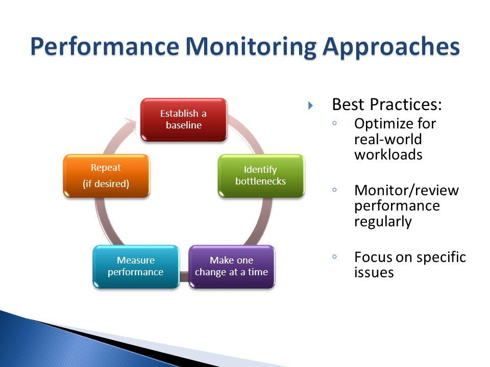 System/OS Windows Performance Monitor Alerts (Performance- Based) SQL Server Activity MonitorSQL Profiler / SQL Trace Database Engine Tuning Advisor Dynamic Management Views (DMVs) Query- Level Database Engine Tuning Advisor Query Execution Plans