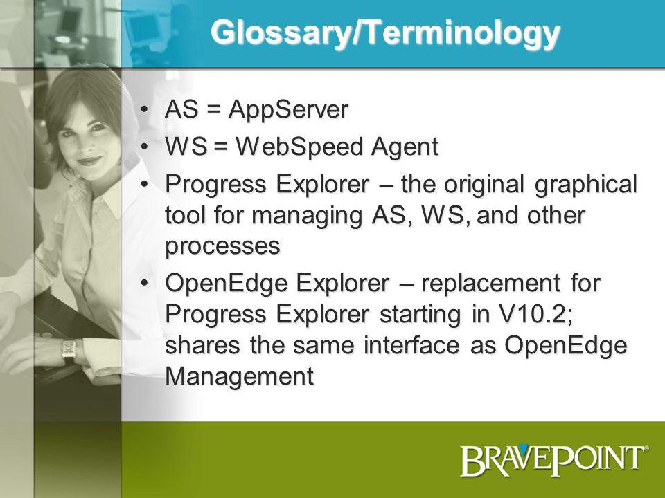 Glossary/Terminology AS = AppServerAS = AppServer WS = WebSpeed AgentWS = WebSpeed Agent Progress Explorer – the original graphical tool for managing