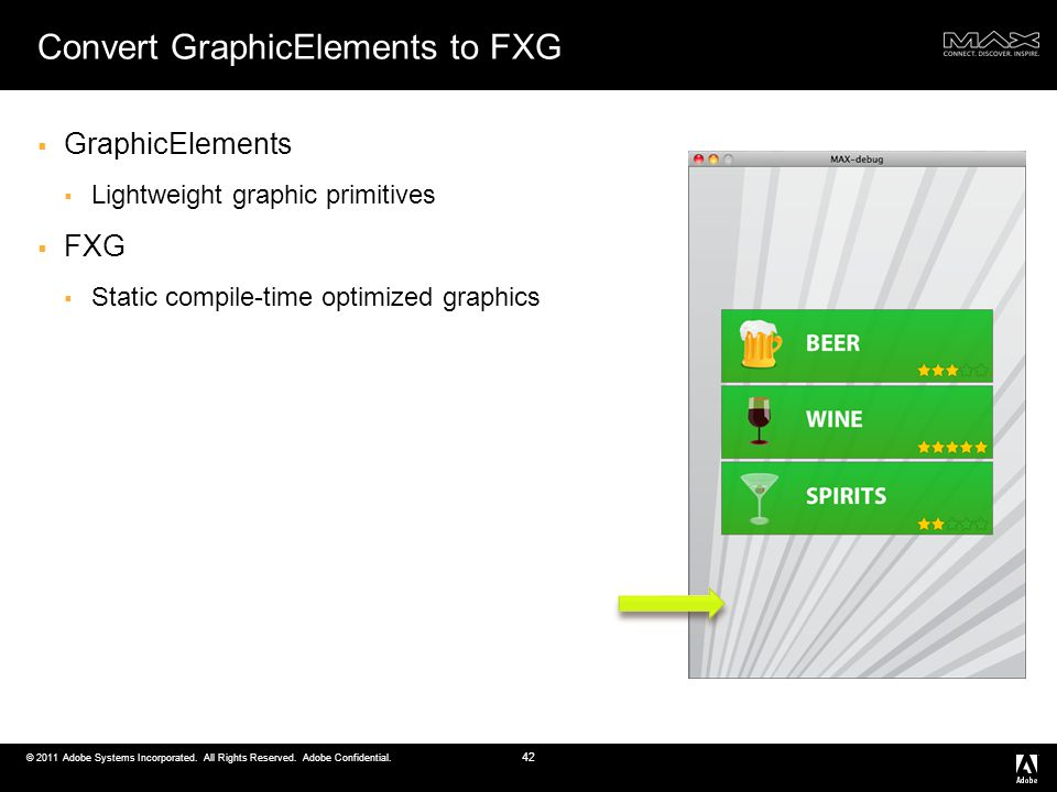 © 2011 Adobe Systems Incorporated. All Rights Reserved. Adobe Confidential. Convert GraphicElements to FXG GraphicElements Lightweight graphic primiti