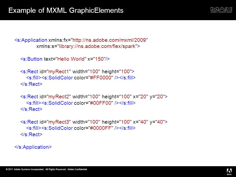 © 2011 Adobe Systems Incorporated. All Rights Reserved. Adobe Confidential. <s:Application xmlns:fx=
