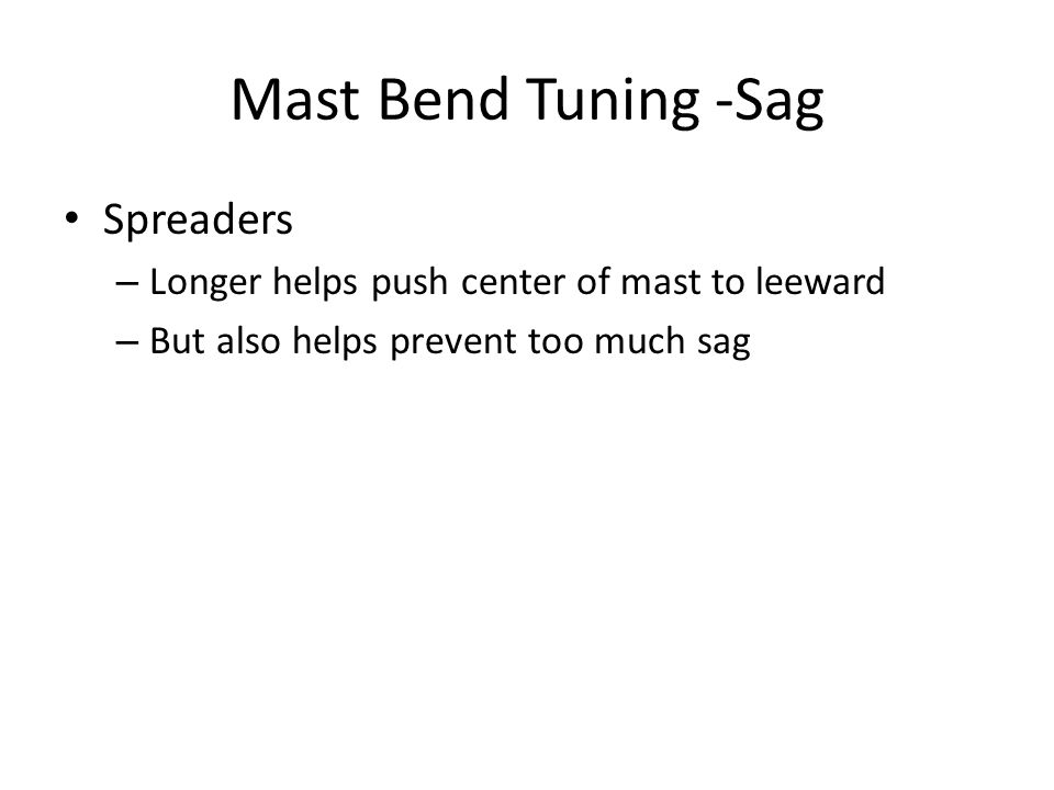 Mast Bend Tuning -Sag Spreaders – Longer helps push center of mast to leeward – But also helps prevent too much sag