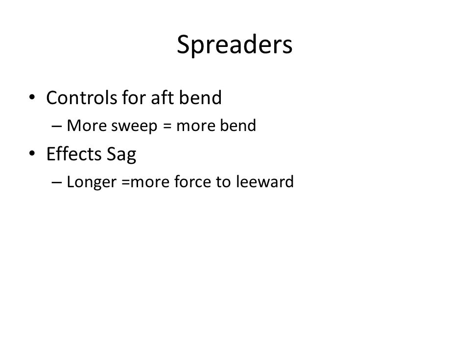 Spreaders Controls for aft bend – More sweep = more bend Effects Sag – Longer =more force to leeward
