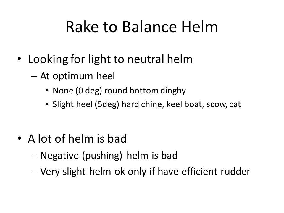Rake to Balance Helm Looking for light to neutral helm – At optimum heel None (0 deg) round bottom dinghy Slight heel (5deg) hard chine, keel boat, sc