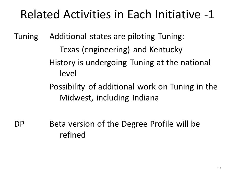 Related Activities in Each Initiative -1 TuningAdditional states are piloting Tuning: Texas (engineering) and Kentucky History is undergoing Tuning at the national level Possibility of additional work on Tuning in the Midwest, including Indiana DPBeta version of the Degree Profile will be refined 13