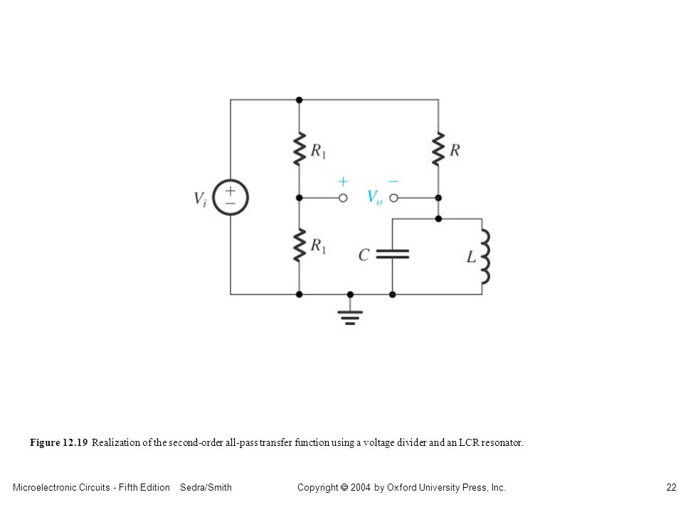 Microelectronic Circuits - Fifth Edition Sedra/Smith22 Copyright 2004 by Oxford University Press, Inc. Figure 12.19 Realization of the second-order al