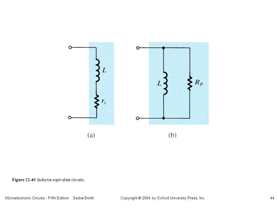 Microelectronic Circuits - Fifth Edition Sedra/Smith44 Copyright 2004 by Oxford University Press, Inc. Figure 12.40 Inductor equivalent circuits.