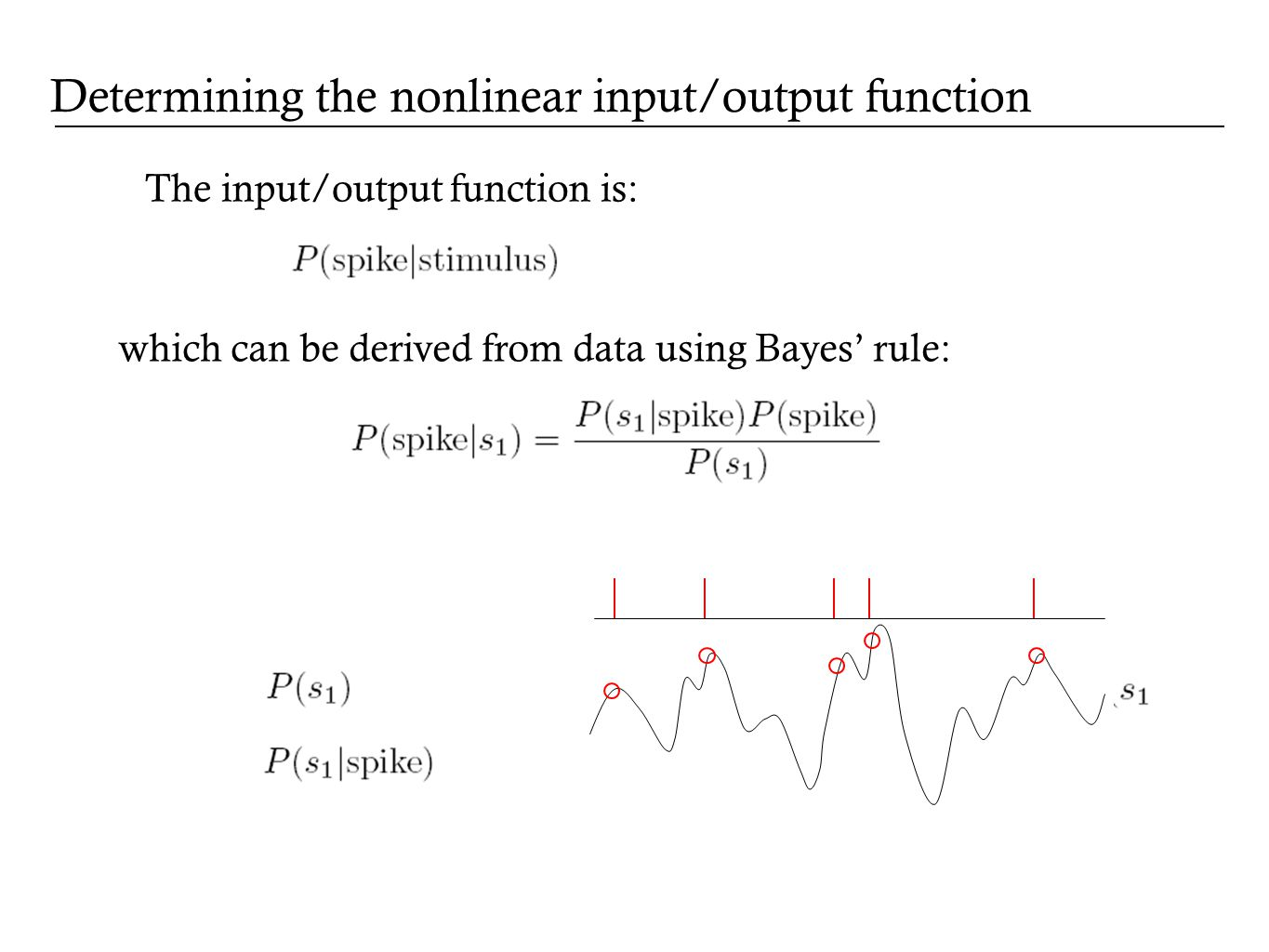 The input/output function is: which can be derived from data using Bayes rule: Determining the nonlinear input/output function