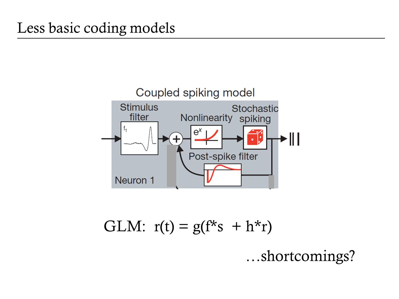 Less basic coding models GLM: r(t) = g(f*s + h*r) …shortcomings