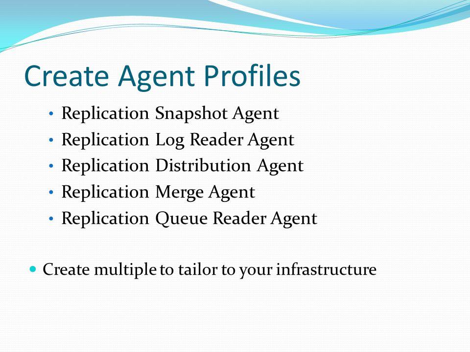 Create Agent Profiles Replication Snapshot Agent Replication Log Reader Agent Replication Distribution Agent Replication Merge Agent Replication Queue
