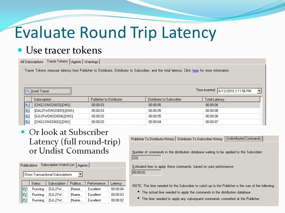 Evaluate Round Trip Latency Use tracer tokens Or look at Subscriber Latency (full round-trip) or Undist Commands