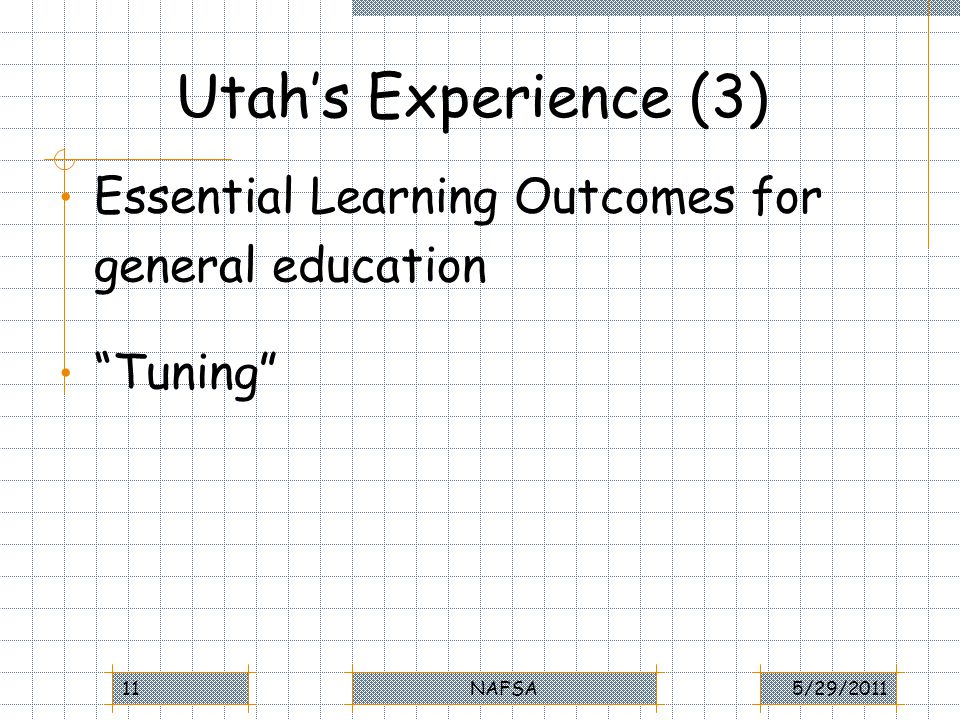 Utahs Experience (3) Essential Learning Outcomes for general education Tuning 5/29/2011NAFSA11