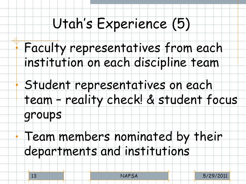 Utahs Experience (5) Faculty representatives from each institution on each discipline team Student representatives on each team – reality check.