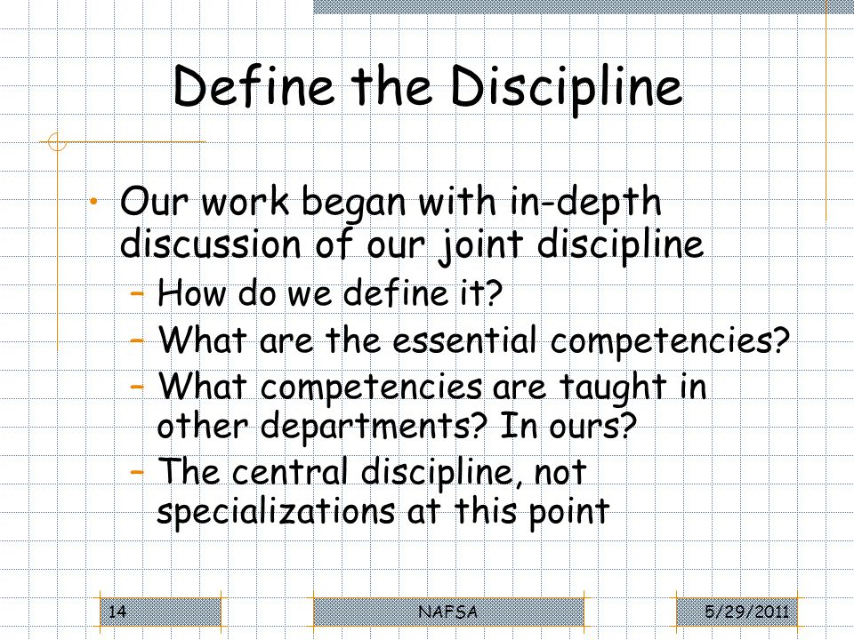 Define the Discipline Our work began with in-depth discussion of our joint discipline –How do we define it.