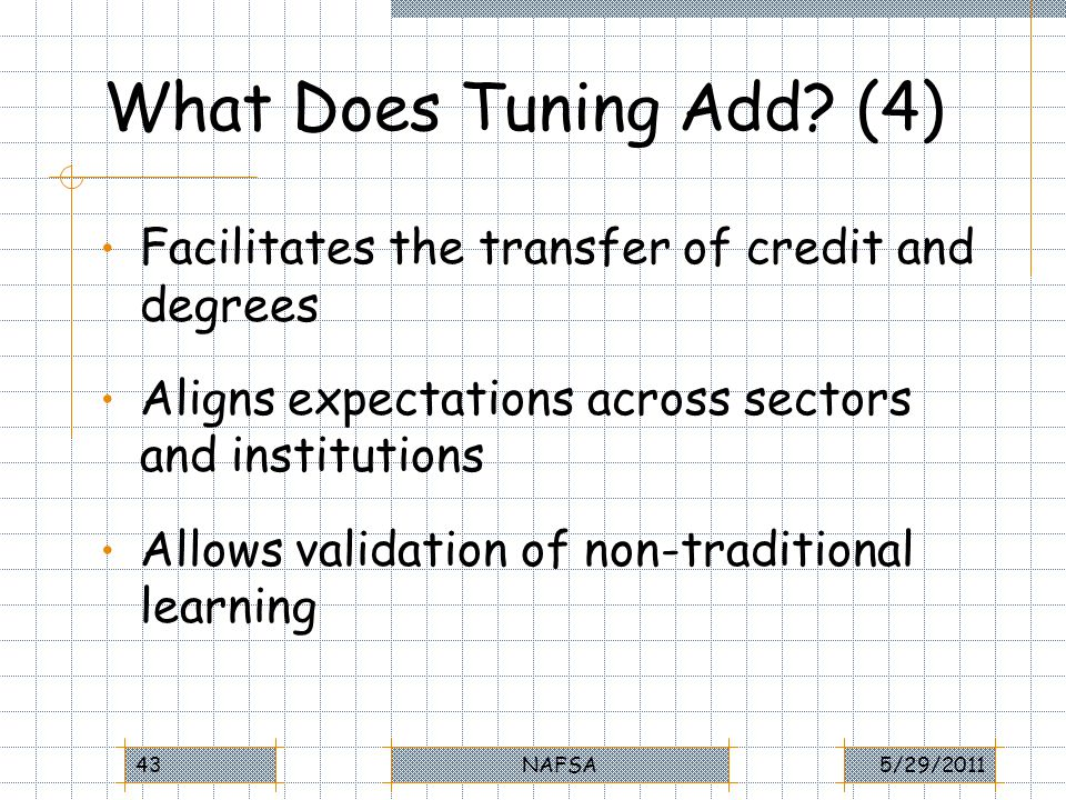 What Does Tuning Add? (4) Facilitates the transfer of credit and degrees Aligns expectations across sectors and institutions Allows validation of non-