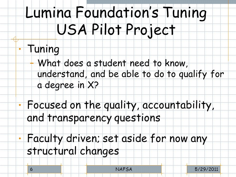 The Quality Question Quality = Student Learning Tuning focuses on student learning rather than on seat time in classes, number of classes, etc.
