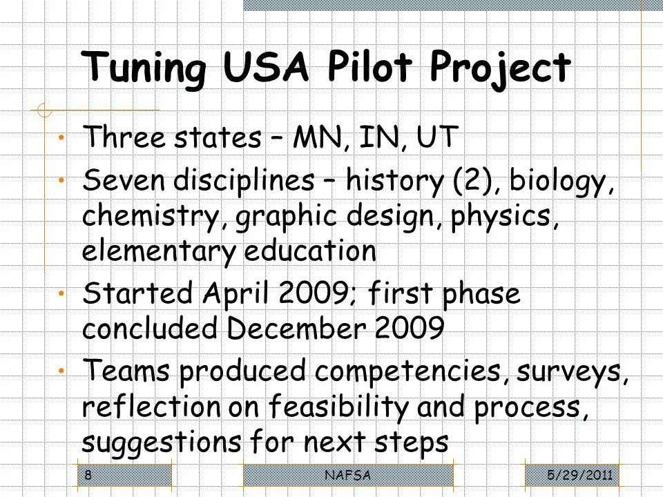 Evaluation of Tuning Process (2) Utah Tuners were also enthusiastic about –Added transparency –Clear system of accountability with assessment of LOs –Better match between educational programs and needs of labor market for knowledge, skills and other competencies 5/29/2011NAFSA39