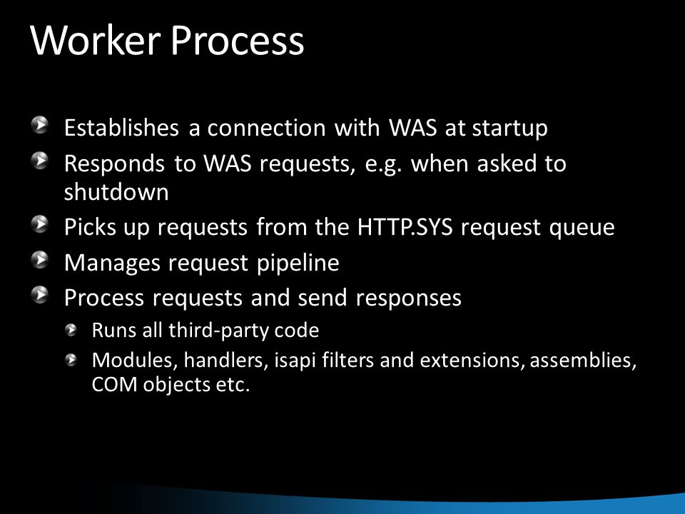 Worker Process Establishes a connection with WAS at startup Responds to WAS requests, e.g.