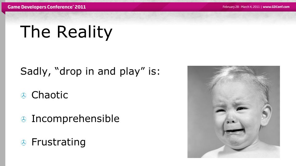 The Reality Sadly, drop in and play is: Chaotic Incomprehensible Frustrating
