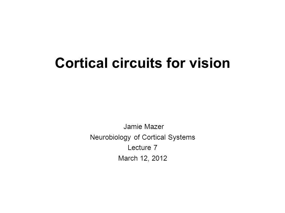 Cortical circuits for vision Jamie Mazer Neurobiology of Cortical Systems Lecture 7 March 12, 2012