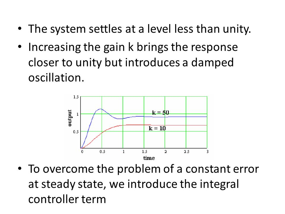 The system settles at a level less than unity. Increasing the gain k brings the response closer to unity but introduces a damped oscillation. To overc