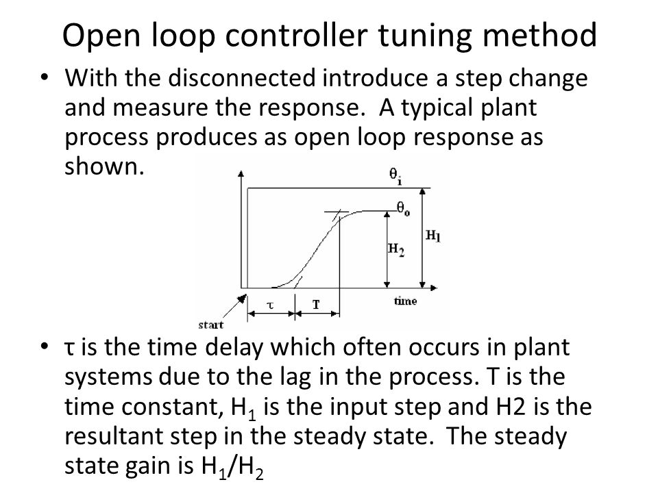 Open loop controller tuning method With the disconnected introduce a step change and measure the response. A typical plant process produces as open lo