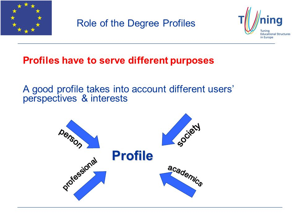 Profiles have to serve different purposes A good profile takes into account different users perspectives & interests Profile Role of the Degree Profil