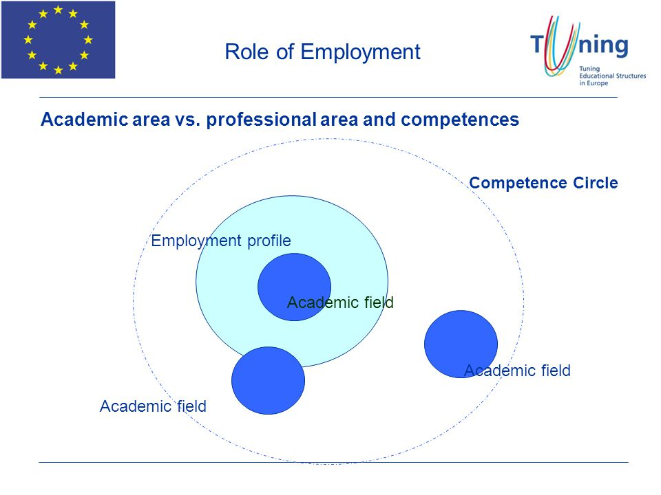 Academic area vs. professional area and competences Academic field Employment profile Competence Circle Academic field Role of Employment