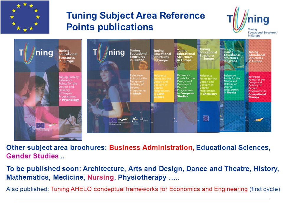 Tuning Subject Area Reference Points publications Other subject area brochures: Business Administration, Educational Sciences, Gender Studies.. To be