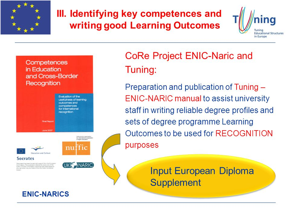 ENIC-NARICS CoRe Project ENIC-Naric and Tuning: Preparation and publication of Tuning – ENIC-NARIC manual to assist university staff in writing reliab