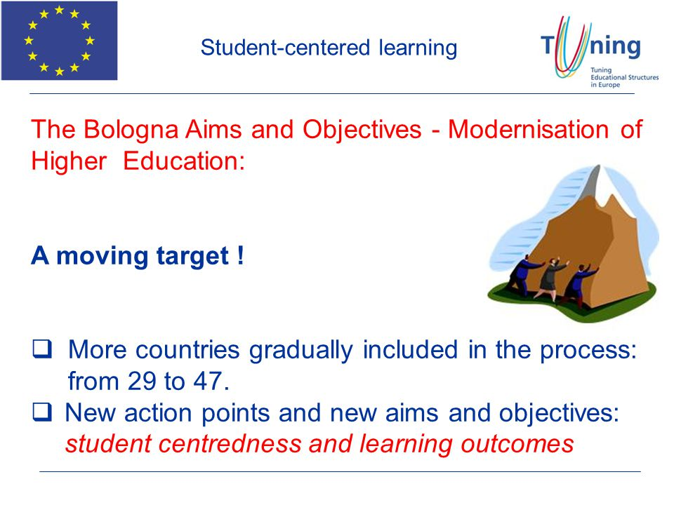 Student-centered learning The Bologna Aims and Objectives - Modernisation of Higher Education: A moving target ! More countries gradually included in