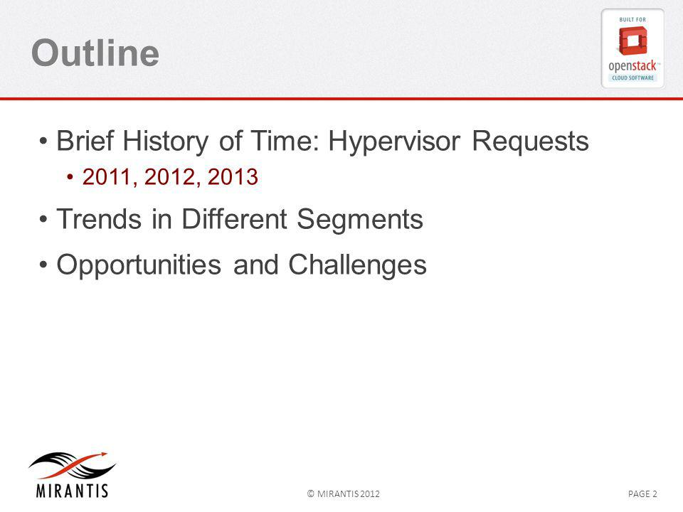 © MIRANTIS 2012PAGE 2 Outline Brief History of Time: Hypervisor Requests 2011, 2012, 2013 Trends in Different Segments Opportunities and Challenges