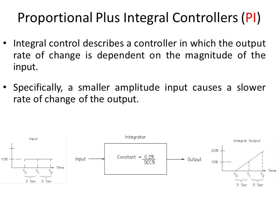 10 Proportional Plus Integral Controllers (PI) Integral control describes a controller in which the output rate of change is dependent on the magnitude of the input.