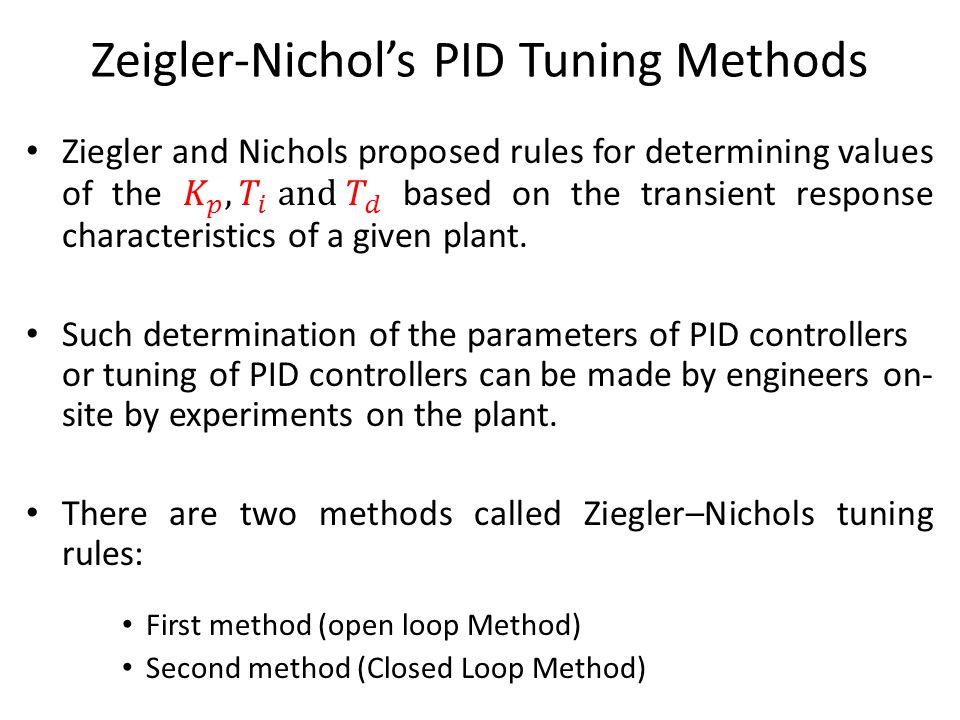 Zeigler-Nichols PID Tuning Methods