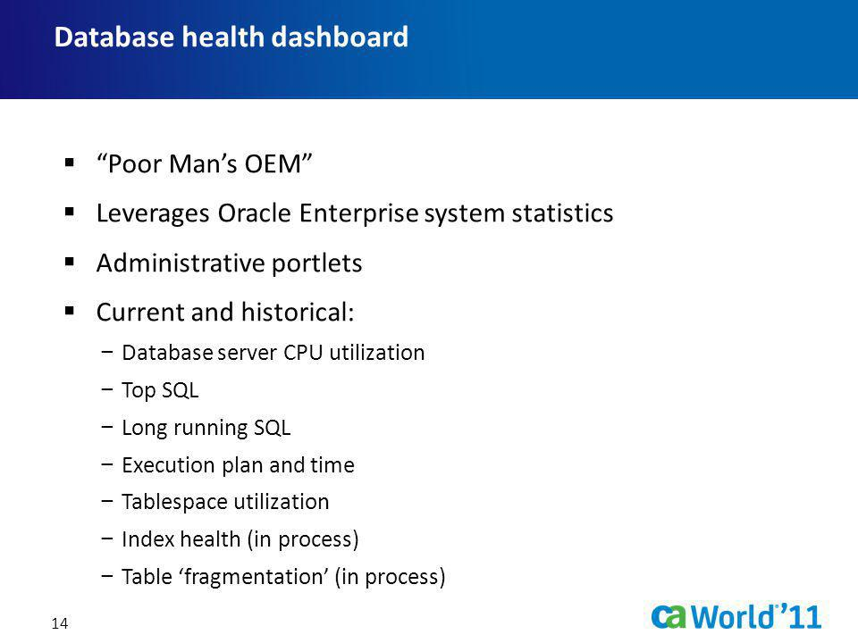Database health dashboard 14 Poor Mans OEM Leverages Oracle Enterprise system statistics Administrative portlets Current and historical: Database serv