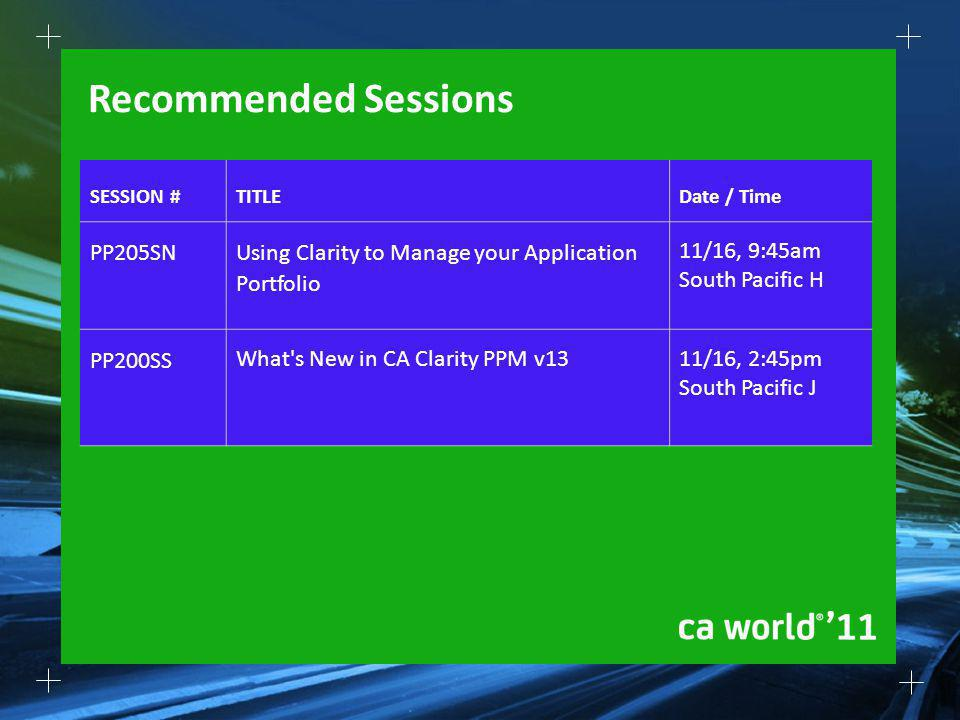 Recommended Sessions SESSION #TITLEDate / Time PP205SN Using Clarity to Manage your Application Portfolio 11/16, 9:45am South Pacific H PP200SS What's