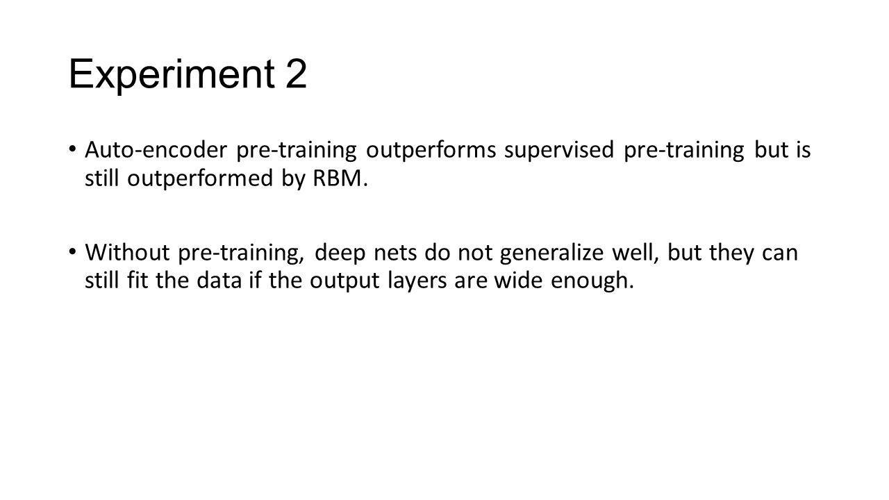 Experiment 2 Auto-encoder pre-training outperforms supervised pre-training but is still outperformed by RBM. Without pre-training, deep nets do not ge