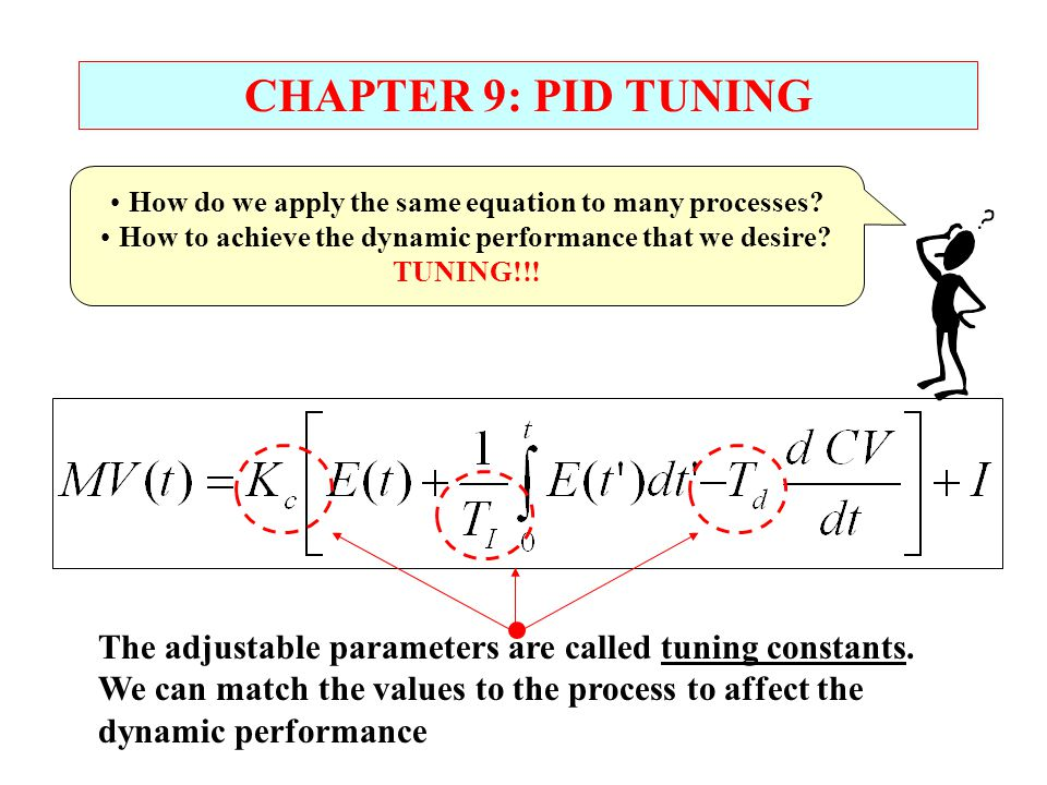 CHAPTER 9: PID TUNING How do we apply the same equation to many processes? How to achieve the dynamic performance that we desire? TUNING!!! The adjust