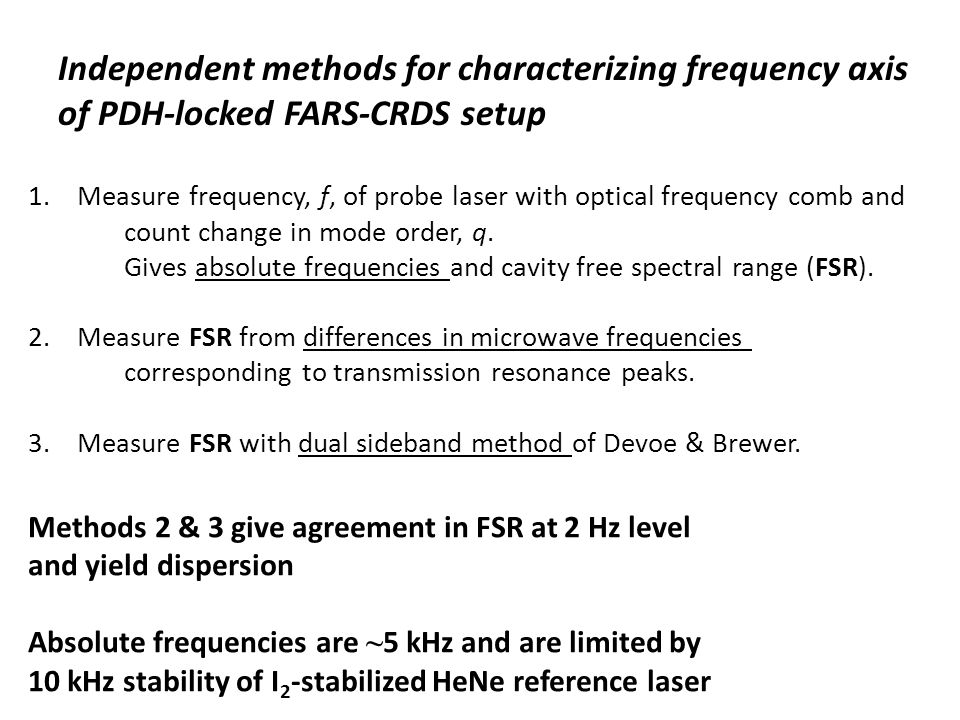 Independent methods for characterizing frequency axis of PDH-locked FARS-CRDS setup 1.