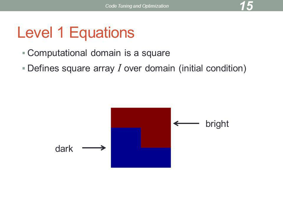 Level 1 Equations Computational domain is a square Defines square array I over domain (initial condition) bright dark Code Tuning and Optimization 15