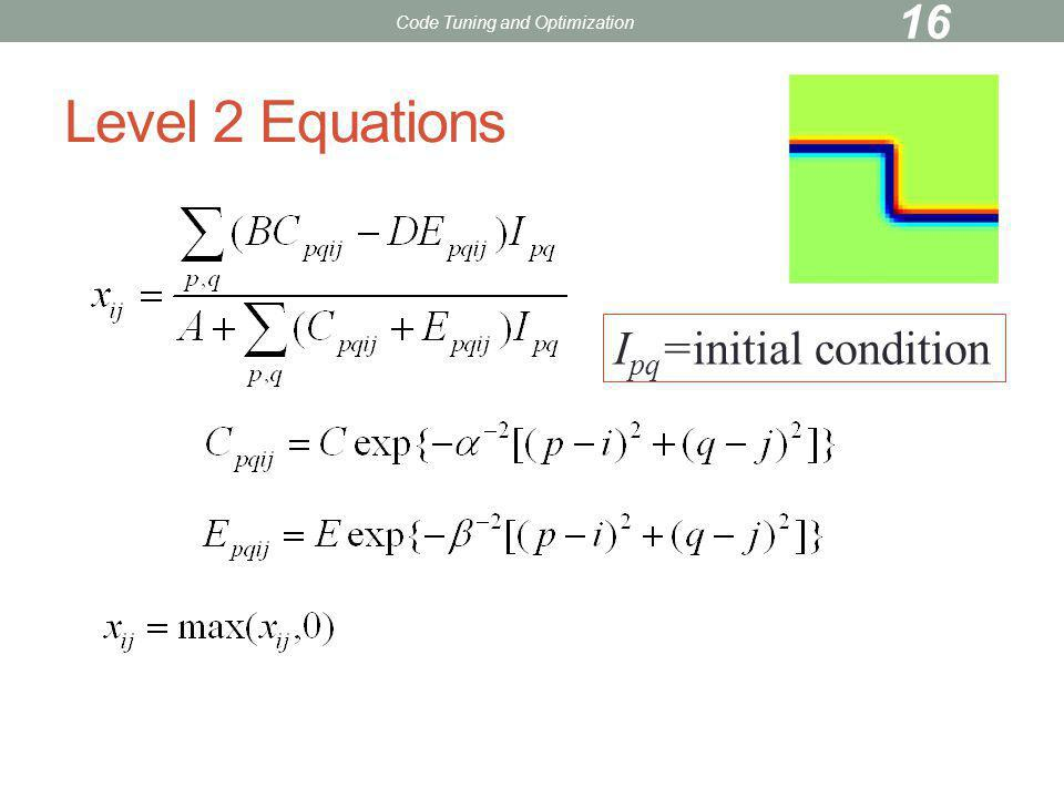 Level 2 Equations I pq =initial condition Code Tuning and Optimization 16