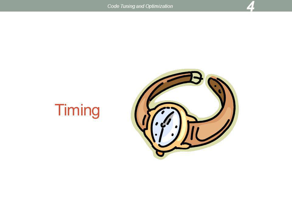 Timing When tuning/parallelizing a code, need to assess effectiveness of your efforts Can time whole code and/or specific sections Some types of timers unix time command function/subroutine calls profiler Code Tuning and Optimization 5