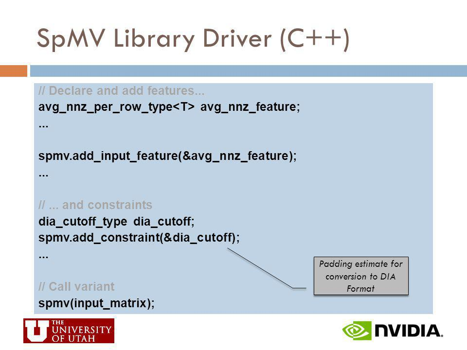 SpMV Library Driver (C++) // Declare and add features... avg_nnz_per_row_type avg_nnz_feature;... spmv.add_input_feature(&avg_nnz_feature);... //... a